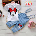 Fashion Summer Cartoon Minnie Clothing Set Girls Baby Casual Suits White Shirt + Overalls Kids T Shirts Jeans Minnie Overalls