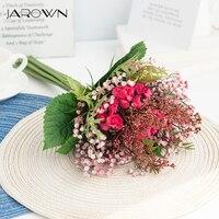 JAROWN Artificial Rose Simulation Flowers Silk Plastic Fake Flower Bouquet Wedding Bride Holding Flowers Home Decoration