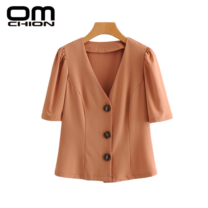 8fd9cb443a4d Detail Feedback Questions about OMCHION 2018 Spring Summer Blusa Feminina  Half Sleeve Office Casual Blouse Women Button Solid Color V Neck Tops LK205  on ...
