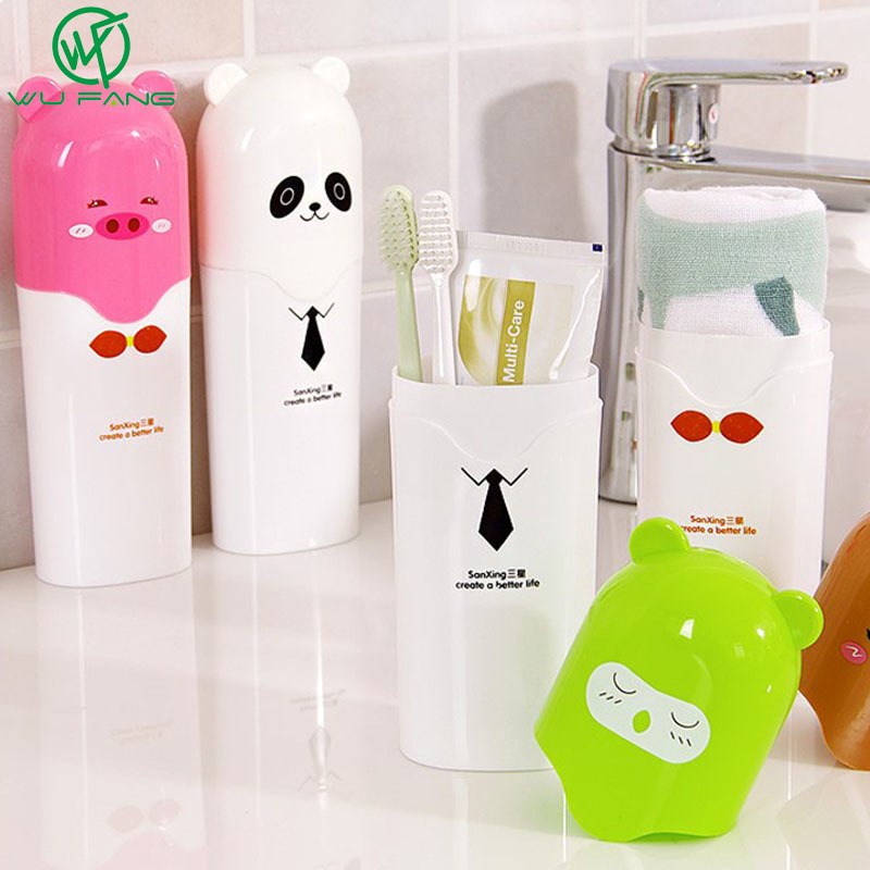 Cute Cartoon Children Toothbrush Box Bath Product Protect Toothbrush Case Holder Camping Portable Cover Travel Hiking Box Tube image