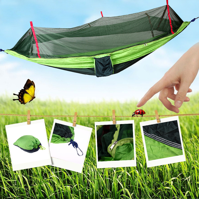 Outdoor Hammock Mosquito Net Travel Camping Hammock Portable Parachute Fabric Mosquito Net Hammock for Indoor Outdoor Use