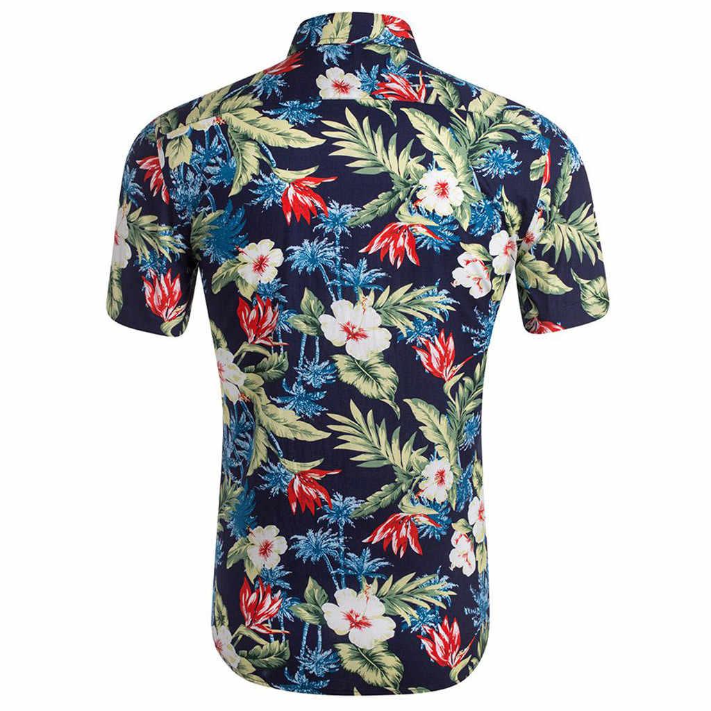 Feitong Модная рубашка с цветочным рисунком Мужская Летняя Повседневная рубашка с 3D принтом и коротким рукавом мужская гавайская рубашка мужские рубашки 2019