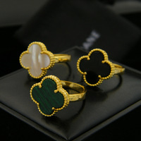 Famous Brand Four Clover Rings For Women Titanium Steel Green Malachite And Black And White Ceramic