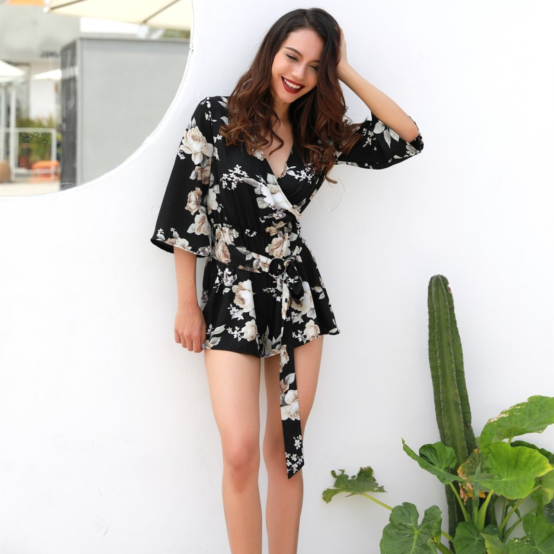 plus size summer rompers 2018 casual playsuit black overalls women tunic floral women romper one piece shorts combinaison 81593G