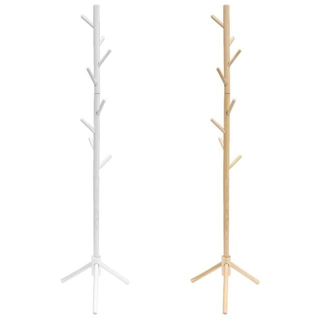 Modern Wooden Coat Rack Clothes Stand Coat Rack Display Stands Hanger Hat Jacket Bag Clothing Shelf Free Standing With 8 Hooks