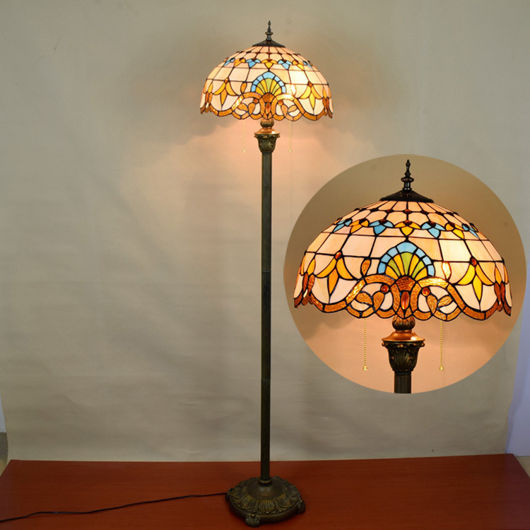 16inch Tiffany Baroque Stained Glass floor lamp E27 110-240V for Home Parlor Dining bed Room standing lamp