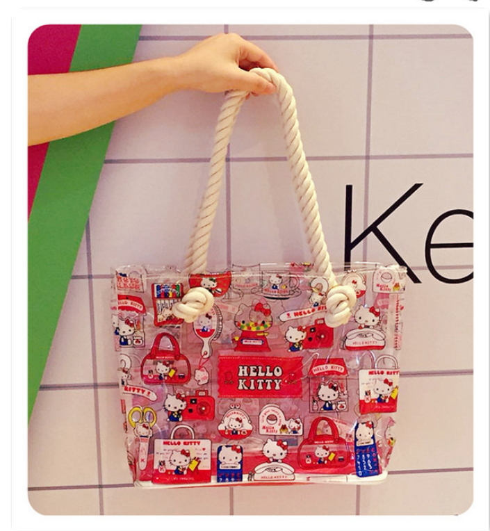 2018 Hello Kitty cartoon transparent PVC waterproof package women bag Can be used as swimming bagbeach bag