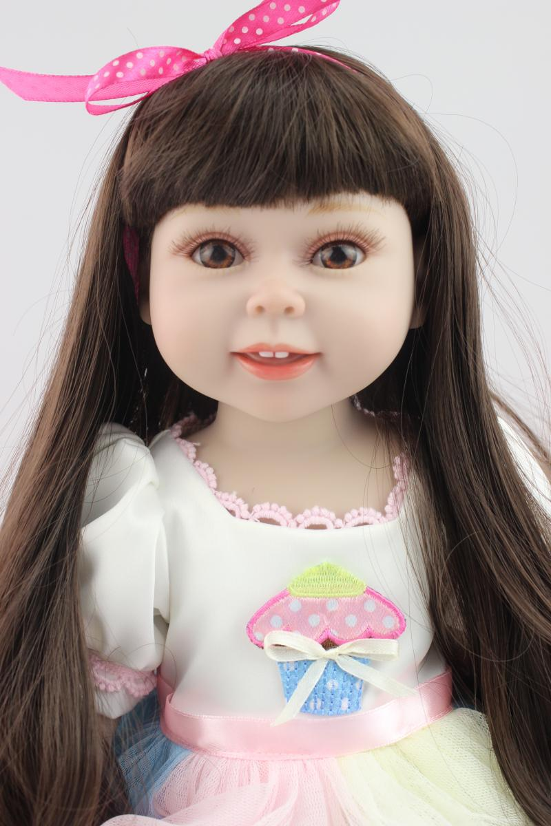Black Long Hair American Princess 18 Girl Dolls Reborn