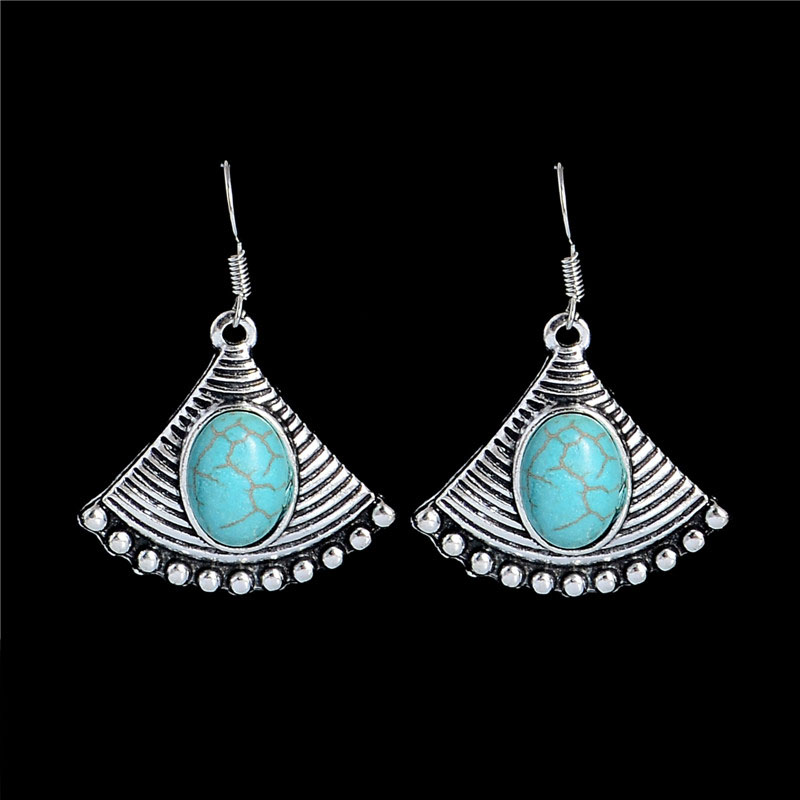 1pair Mujer Pendientes Jewelry Ethnic Vintage Tibetan Silver Turquoise Mysterious Sector Dangle Earrings Free Shipping