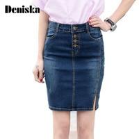 7XL Plus Size Denim Skirt 2017 Elegant Women Slim Mini Denim Skirt Simple Sexy Side Split