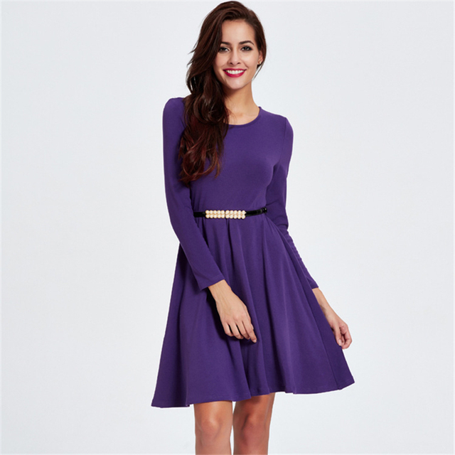 45b6c26019a3 Winter New Fashion Elegant Ladies Purple Dresses for Women Simple Round  Neck Full Sleeve Pleated Autumn Dress Belt Vestidos 2XL