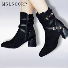 Size 34-43 New Spring Autumn Fashion Women Ankle Motorcycle Boots High Heels Buckle Pointed Toe Short Booties Black Ladies Shoes ladies stretch cloth thin high heel ankle boots fashion slip on pointed toe booties women comfort spring autumn shoes black