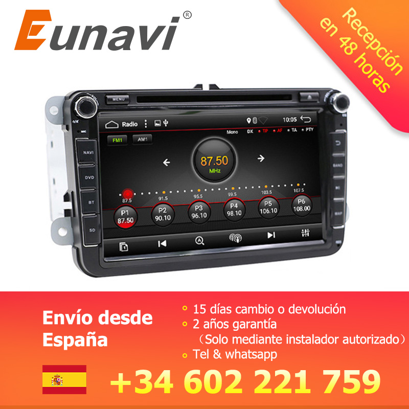 Eunavi 2 Din 8 ''Android 7,1 8,1 Автомобильный dvd Радио gps navi для поло Jetta Tiguan VW passat b6 cc fabia зеркало ссылку в тире