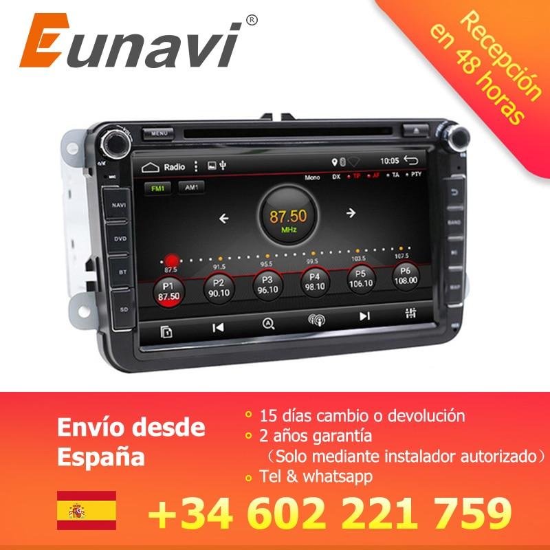 Eunavi 2 Din 8 ''Android 7.1 8.1 dvd de voiture radio player gps navi pour Polo Jetta Tiguan VW passat b6 cc fabia miroir lien au tableau de bord