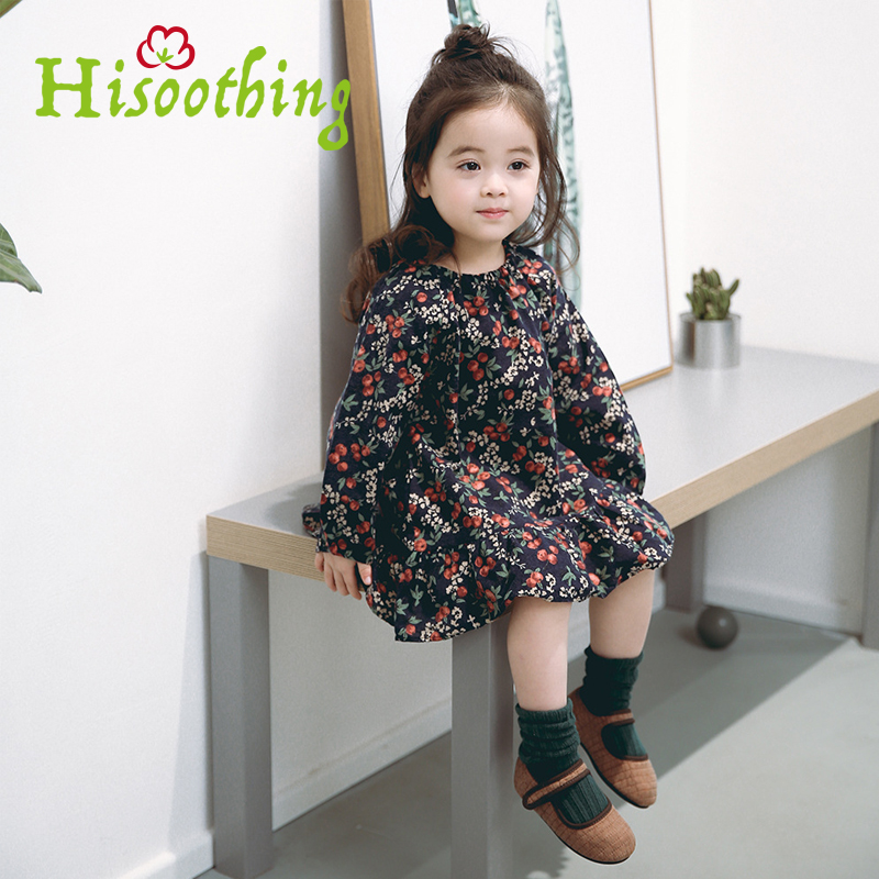 Girls Printed dress Pretty Girls Dress Lovely Floral Print Long Sleeve Flower Kids Dress Baby Girl Clothes Princess Dresses цепочка german silver 46sm