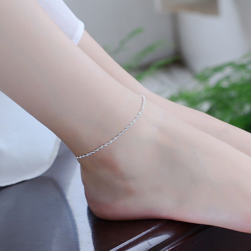 TJP Charm 925 Silver Anklets For Women Party Jewelry Trendy Wave Chain Girl Silver Bracelet Jewelry Hot Lady Bride Wedding Bijou
