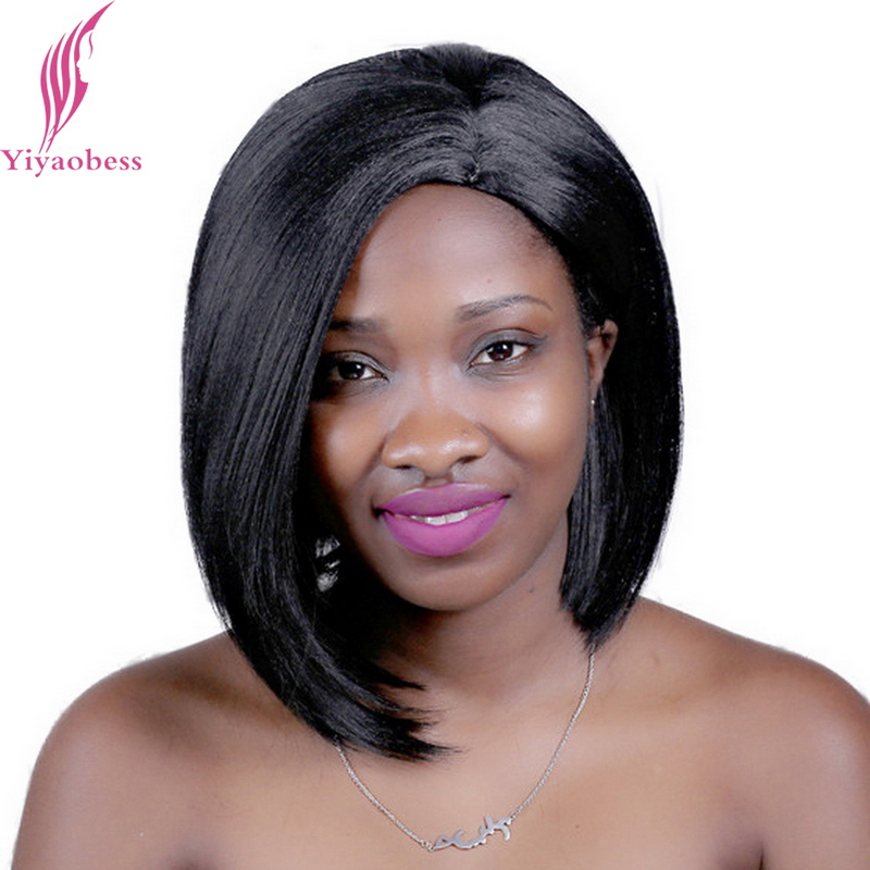 Yiyaobess 12inch 1B U Part Straight Short Black Wig Heat Resistant Synthetic African American Wigs For Women