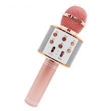 WS858 Bluetooth Wireless Microphone Karaoke Microphone Condenser Magic Microphone KTV Singing Speaker Player Mic for Phone PC