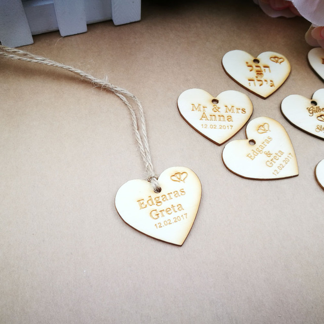 100pcscustomized Candy Tags Of Herats Personalized Engraved Wood