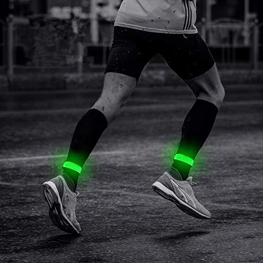 New Glowing Bracelets Sport LED Wristbands Adjustable Running Light For Runners Joggers Cyclists Bike Warnning Light Battery
