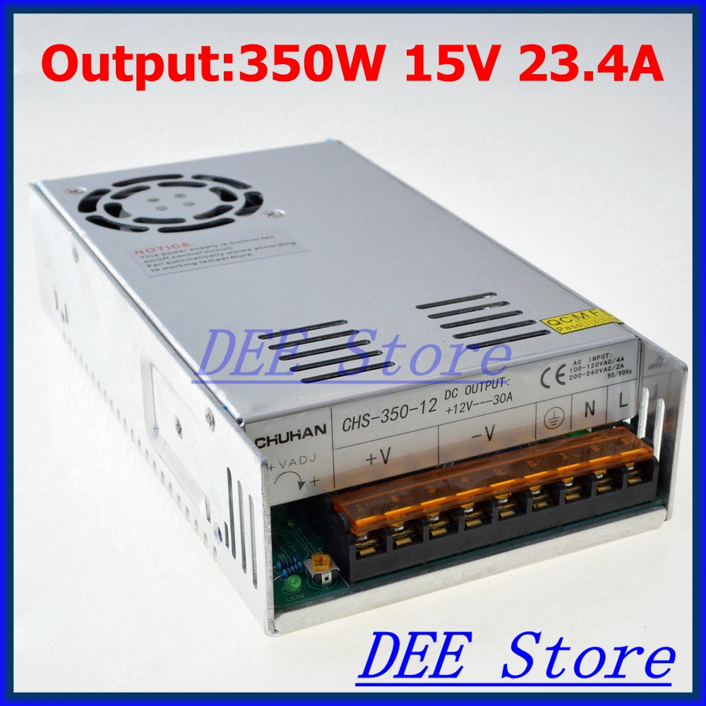 Led driver 350W 15V 23.4A Single Output ac 110v 220v to dc 15v Switching power supply unit for LED Strip light led driver 600w 15v 0v 16 5v 40a single output ac 220v to dc 15v switching power supply unit for led strip light