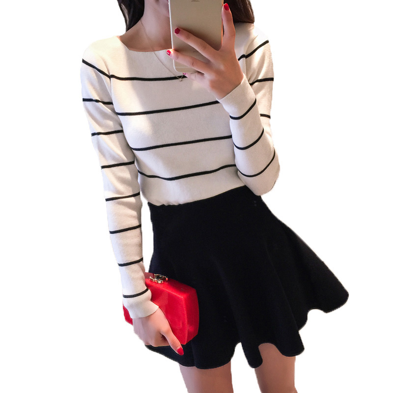 Autumn Winter Christmas New Hot Sell Women Fashion Casual Striped Warm Bat Sleeve Casual Sweaters Knit Pullovers PW1081