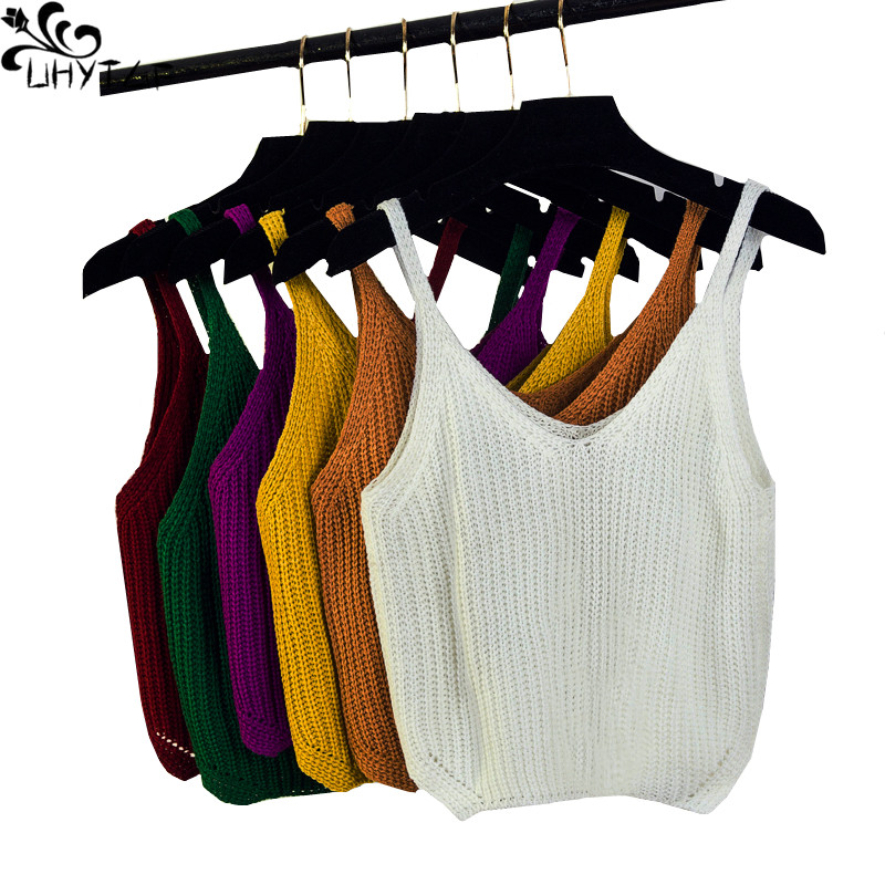 UHYTGF Spring Womes Knitted Sweater Vest Summer Female Sling Sleeveless Vestst short Ladies Fashionable Sexy Sweater Vests 283