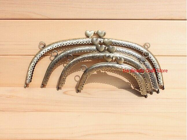 8pcs/lot 12.5cm /16.5cm /20cm /24.5cm purse frames clutch picot edge heart head purse metal frame handles for handbags S0043