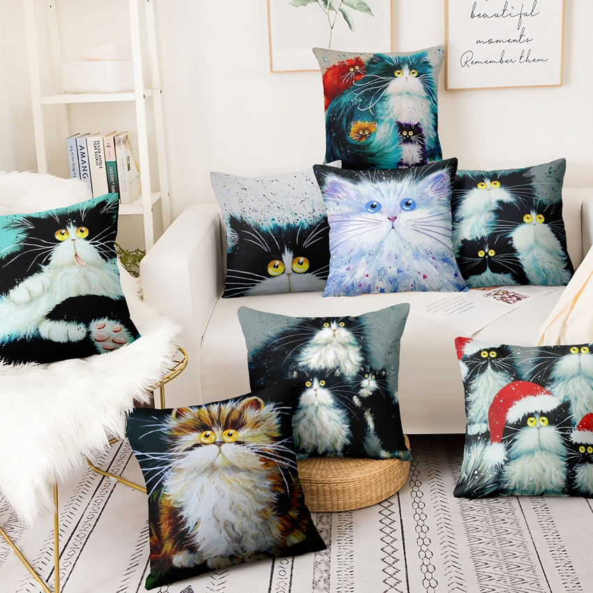 Colorful Cartoon Cat Printed Pillowcase Home Pillow Decoration Painting Cushion Decorative Pillow Home Decor Sofa Throw Pillows