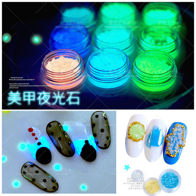 Aliexpress buy 9 colors luminous sand stone nail art glow in 9 colors luminous sand stone nail art glow in the dark decoration nail ornament fluorescence sand prinsesfo Images
