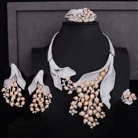 4 шт. свадебные комплекты ювелирных изделий цветок цветочный фианит индийская свадьба большой воротник ожерелье серьги браслет кольцо комп