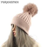 FURANDOWN Real Fox Fur Pom Poms Hat Women Warm Winter Wool Beanie Hats Striped Knitted Beanies