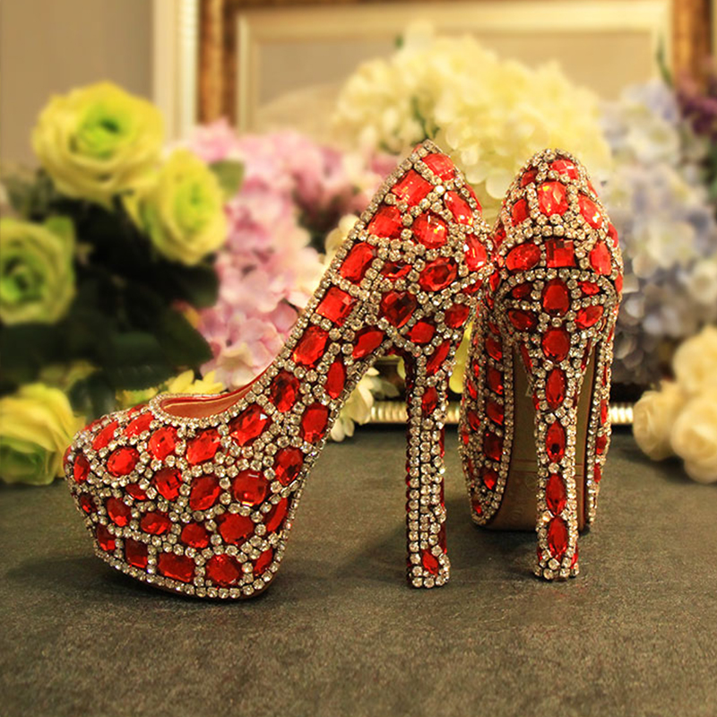 ФОТО Newest Arrived Seven Kinds of Heel Height Red With Silver Color Rhinestone Bridesmaid Wedding Shoes Party Prom High Heels