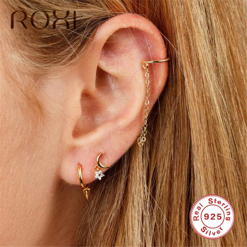 ROXI Punk Hip Hop Stud Earrings Real 925 Sterling Silver Earrings for Women and Men Hip Hop Rock Hypoallergenic Earings Jewelry