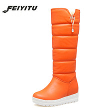 feiyitu  Winter Shoes Women Plush Warm Sexy Rhinestone 2018 New Arrival Height Increasing Wedges Ladies Snow Boots Knee High