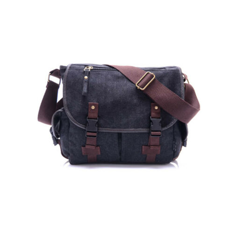 Unisex Vintage Canvas Leather Messager Bag Satchel School Shoulder Rucksack Fashion Solid
