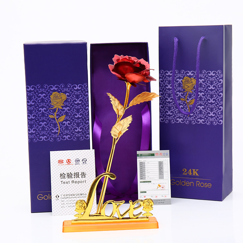 Aliexpress Com Buy Wr Romantic Rose 24k Gold Dipped: 24K Gold Plated Rose Romantic Valentine's Day Artificial
