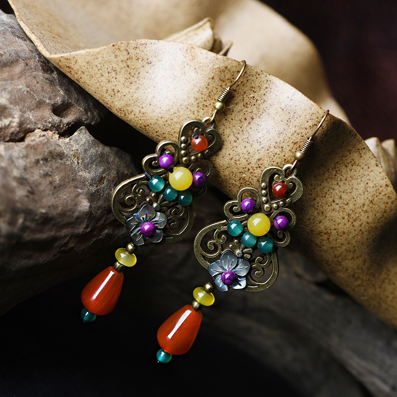 long ethnic drop earrings antique for women shell flower red yellow stone bronze alloy color hanging hook style vintage jewelry