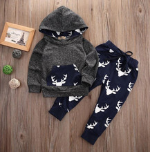 Christmas elk 2016 New baby boy girl clothes set cartoon symbol T-shirt+pants infant clothes cartoon newborn baby clothing set
