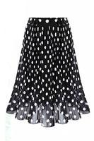 2017 Summer Chiffon Polka Dot Skirt Female Black Dots In The Long Waisted Pleated Skirt Beach
