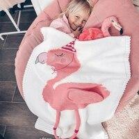 Knitting Baby Blanket Flamingos Knitted Infant Toddler Children Super Soft Stroller Bedding Blanket for newbron Girl Boy Gift