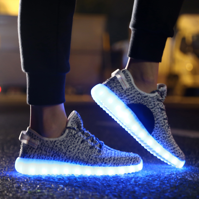 Men's Shoes Colorful Adult Led Lights Usb Charging Colorful Shoes Mesh Mens Models Luminous Shoes Shoes High Safety Shoes