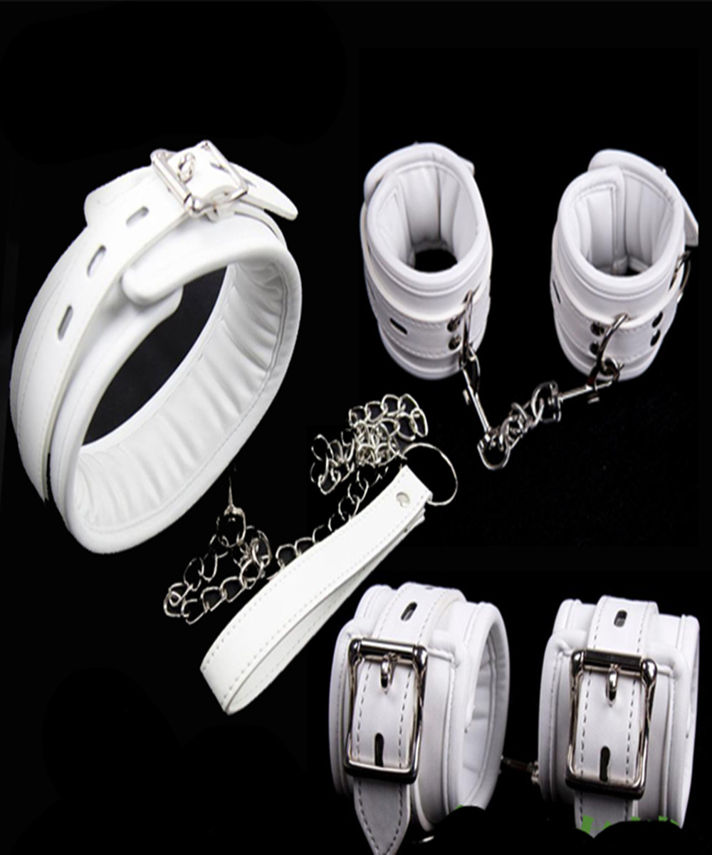 Bdsm Fetish Leather Sponge Dog Collar Slave Hand Wrist Ankle Cuffs Bondage Restraints Belt Lockable In Adult Games For Couples bdsm leather collar hand wrist cuffs bondage slave restraints belt harness in adult games fetish sex toys for women