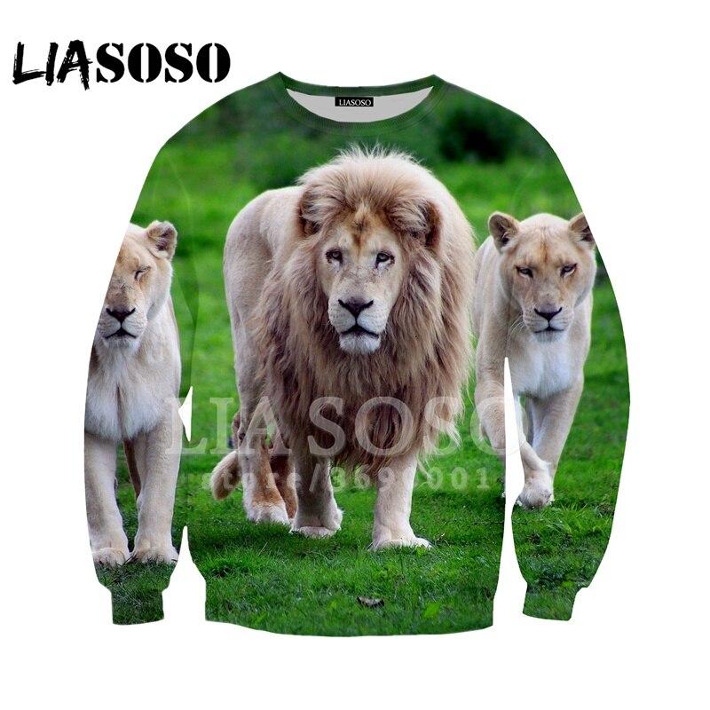 Men's Clothing Liasoso 2018 Sweatshirt Harajuku Hoodies 3d Print Lion King Of Animal Big Cat Lion Men Women Casual Pullovers Long-sleeve X1028 Promote The Production Of Body Fluid And Saliva