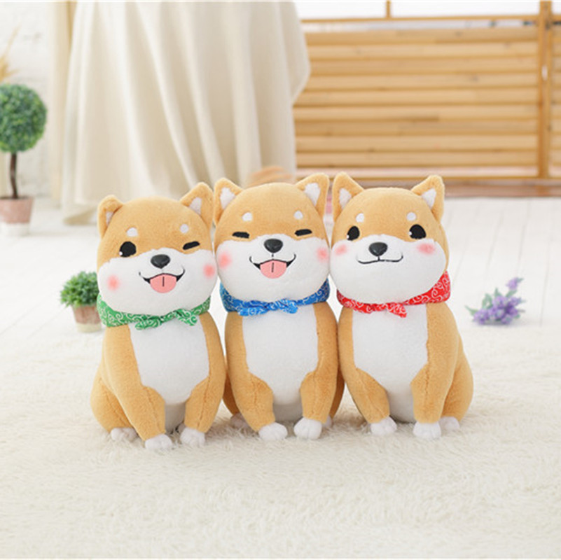 Lovely Sitting dog Shiba Plush toy Kawaii Brown and gray The Akita Plush Animals Children's birthday gifts