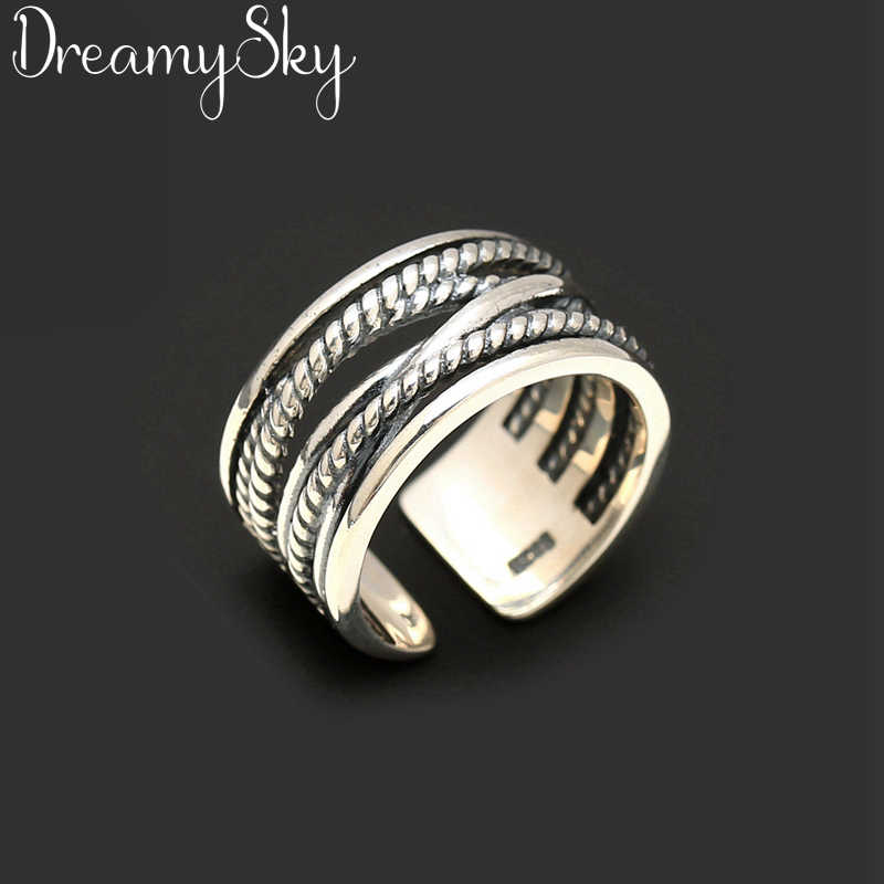 Exaggerated Personality 925 Sterling Silver Retro Large Open Rings For Women Punk Style Luxury Adjustable Size Statement Ring