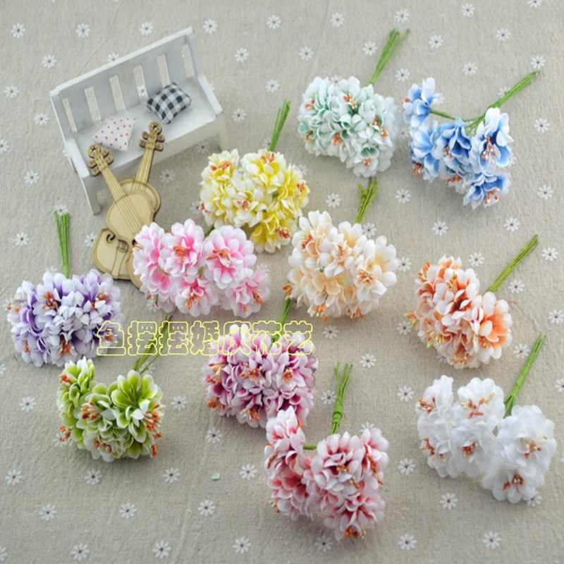 6 Pcs Mini Sutra dan Satin Buket Bunga Buatan Mawar Multicolor Rose Pernikahan Bunga Dekorasi Scrapbooking Bunga