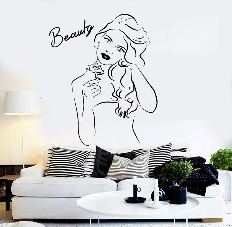 Vinyl wall applique beauty salon pretty woman girl room sticker mural wall decoration beauty salon hair salon decoration 2MY2-in Wall Stickers from Home & Garden