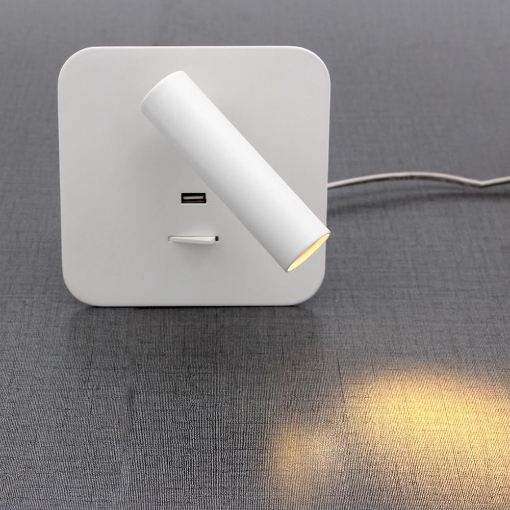 Zerouno lampe de nuit Led 5 V 2.1A USB lampe lit de charge rapide tête de lit lumière USB 110 v 220 v 2 W lumière Led ampoules abat-jour en aluminium