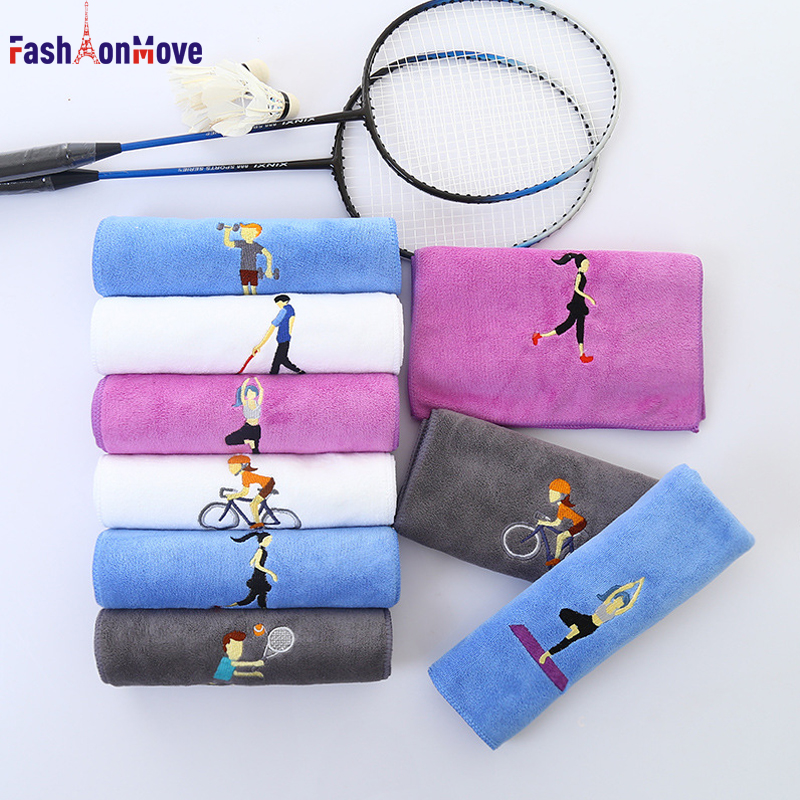 Cotton Microfiber Embroidered Sports Towel Soft Gym